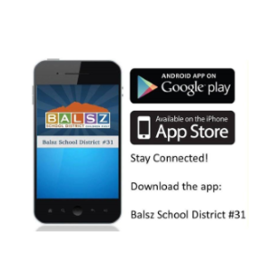 Cell phone with Balsz app on the screen, Google Play and IPhone app store logos