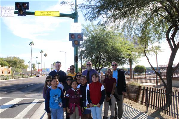 Students and staff by new Crockett crosswalk