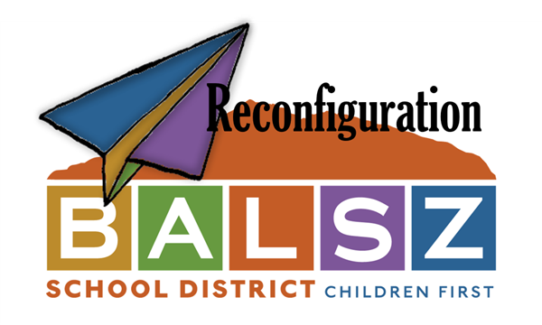 "Balsz Logo with paper airplane and word ""reconfiguration"""