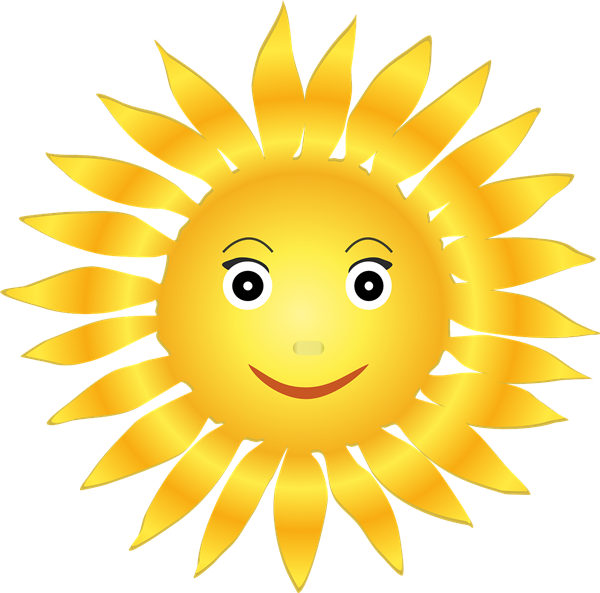 Sun with smiling face.