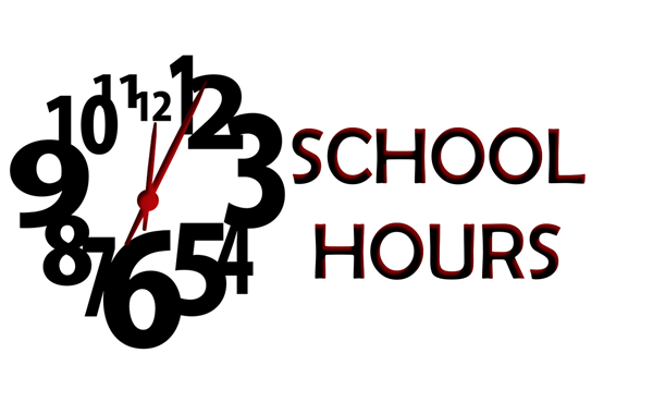 "Clock face and the word ""School Hours"""