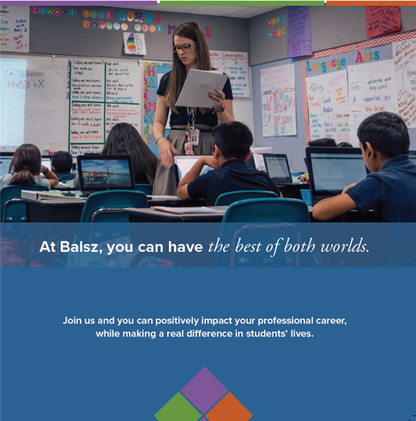 "Image of teacher in front of students with computers. ""At Balsz, you can have the best of both worlds."
