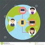 clipart of earth and people connecting using technology