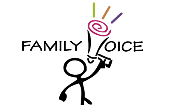 "Stick figure with megaphone: ""Family Voice"""